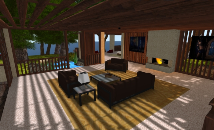My open-plan house at the start of 2012, built using sculpts and the convex hull physics form for the prims sections, to give a lightweight land impact (if heavier streaming cost!)