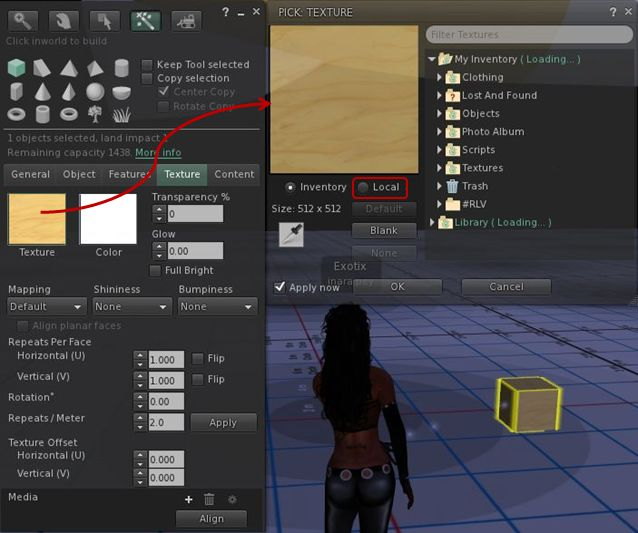 Local textures: a way to preview object and clothing textures prior to upload