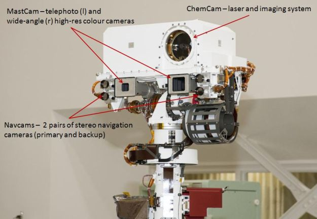 Curiosity's remote sensing mast, seen fully deployed prior to launch in 2011