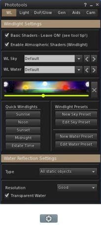 The main Phototools floater and dedicated toolbar button, shown in icon mode