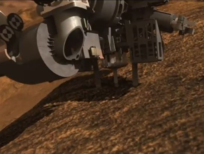 Close-up of Curiosity's drill in action (simulation) - the drill should be deployed for the first time early in the New Year, 2013