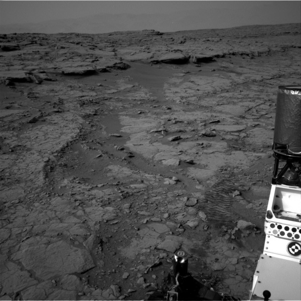 """The view from """"Gandma's House"""" showing the ancient stream bed, captured by Curiosity's Navcam system on December 20th, 2012"""