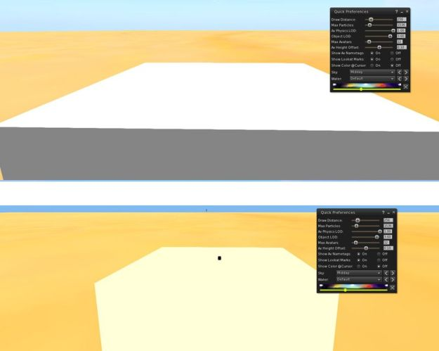 Interest List in action: in the top image, the current problem. The interest list code is based on the avatar position. I'm standing 100m from a .5-cube with a 0.001 cube on it. When zoomed in on the cubes, the smaller one remains invisible (and I vanish from view). In the bottom image is the same set-up using the new interest list code. The 0.001 cube is now visible when I zoom in via camera, and I'm also visible, over 100m away.