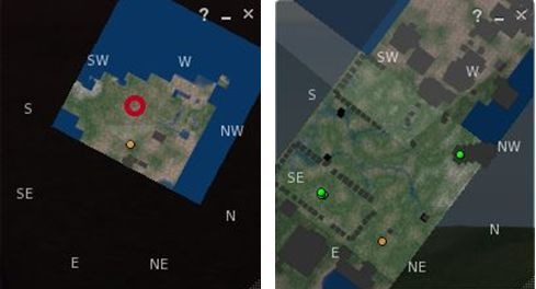 Mini-map improvement: on the left is a region without the new Interest List code as rendered on the Mini-map with a draw distance of 96m. On the right, a region running the new code as rendered on the Mini-map also with Draw Distance set to 96m