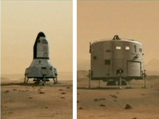 "The Mars Direct proposal calls for two vehicles to be used. An ""Earth Return Vehicle"" (l), and a ""Mars Hab"" (r), used to fly a crew to Mars be form their living / working space for a 500-day mission on the surface. The ""Earth Return Vehicle"" would fly to Mars ahead of the crew and fuel itself for the return trip using the Sabatier reaction"