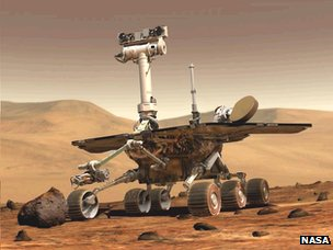 "Curiosity's ""little cousin"" Opportunity, active on Mars since January 2004"