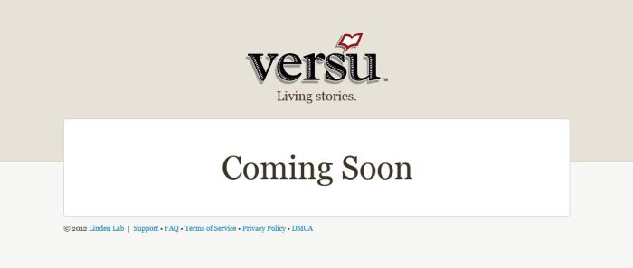 The Versu website placeholder from Linden Research, December 2012