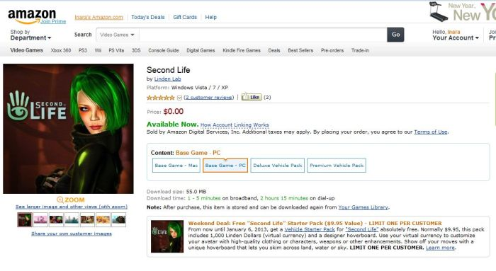 One of the SL offer pages on Amazon.com