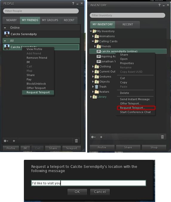 Three of the new teleport request viewer changes as they currently stand (images courtesy of Jonathan Yapp) - click to enlarge