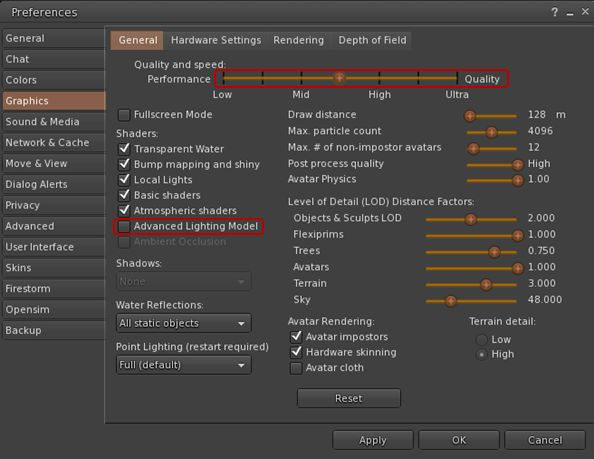 Updated Graphics tab options reflecting LL-deriven GPU table updates and upcoming support of materials processing
