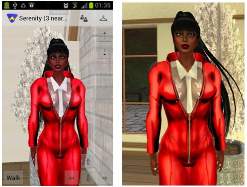 The magic of mesh in Lumia: a rigged mesh catsuit in Lumiya (l) and a regular viewer (r)