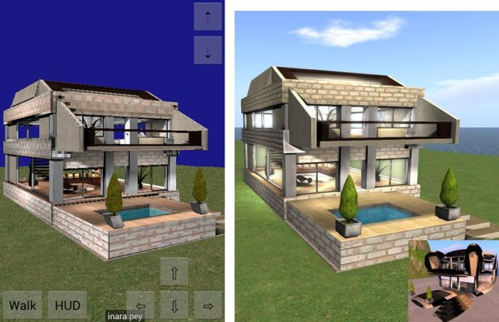 Lumiya (l) offers almost a full in-world experience on Android devices and includes RLVa and mesh support. This picture shows a partial mesh house rendered in Lumiya and (r) on a regular viewer. Inset of of the same house on a non-mesh viewer