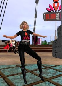 Saffia Widdershin, one of the event organisers, dances at OBR in SL