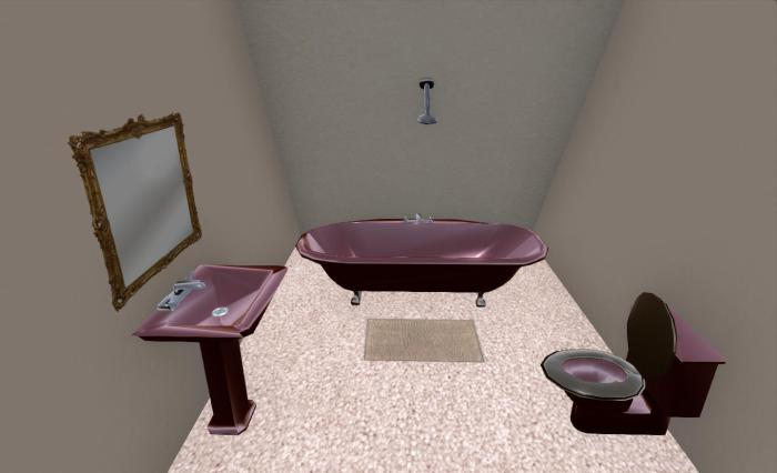 The PrimPossible bathroom suite showing the alternate bath style, and alternative mirror style and with colour / shine applied to furnishings