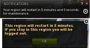 """Region restart notifications: the """"old"""" stayle (top), and the """"new"""" style (bottom)"""