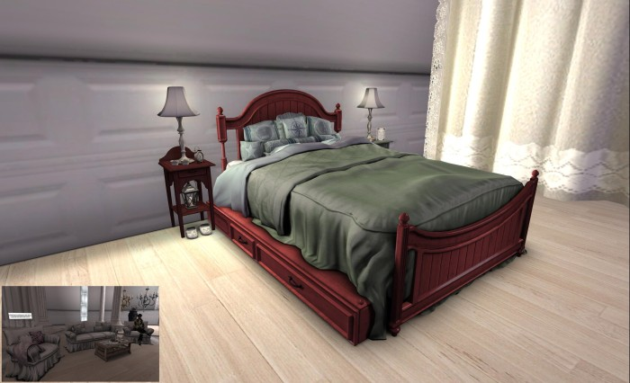 LAQ Decore furnishing represent good value for money - low prim count / LI, colour-changing, multiple poses and options. The bed and beside tables (with working lamps / candles) shown in the main picture and the lounge suite inset.