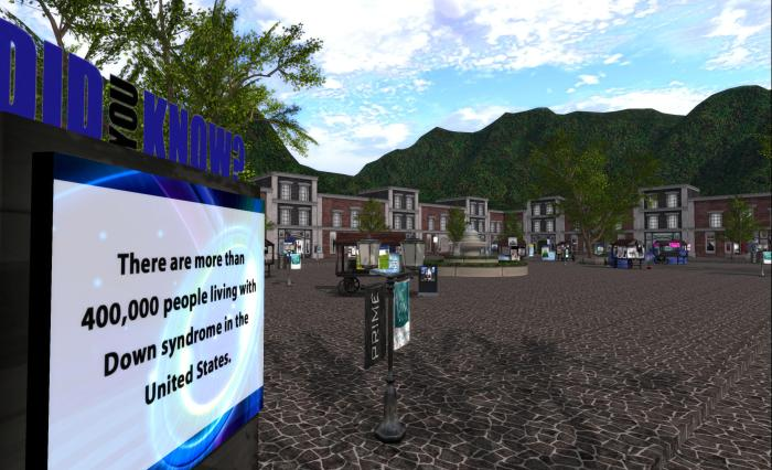 One of the two fair plazas at the event
