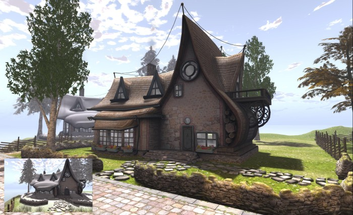 """The LAQ Picturesque Cottage (with the optional """"snow roof"""" applied, inset)"""