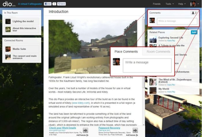The old dio Comments panel (main picture) and the new, tabbed approach for commenting on rooms and Places (inset)