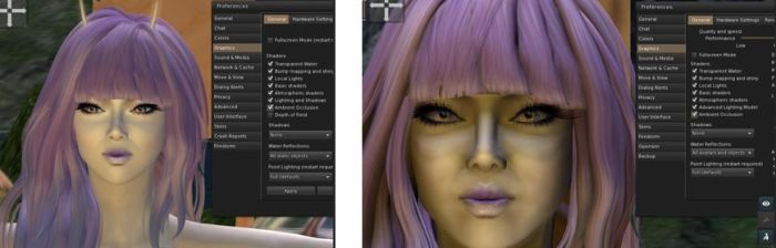 """SSAO issue: A facial view in the current release of Firestorm with Ambient Occlusion enabled (l); a similar image captured on the upcoming Firestorm release, showing a """"dirty"""" face as a result of enabling SSAO alongside Ambient Occlusion (r)"""