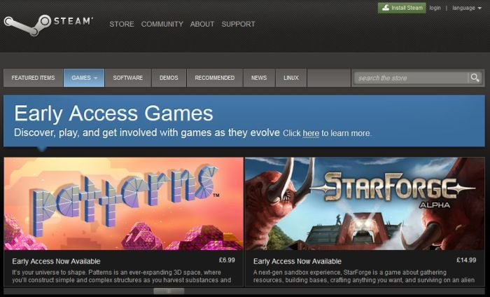 Patterns now available as a part of Steam's Early Access platform