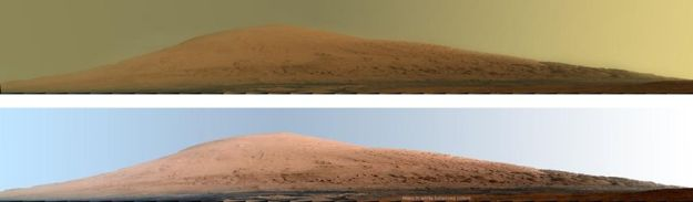 """Mount Sharp"" towards the centre of Gale Crater, as seen in a ""raw"" image (as it would appear on Mars"