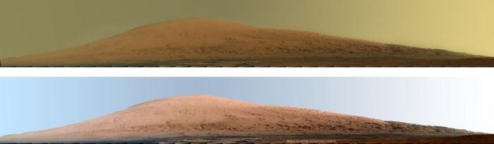 """""""Mount Sharp"""" towards the centre of Gale Crater, as seen in a """"raw"""" image (as it would appear on Mars"""