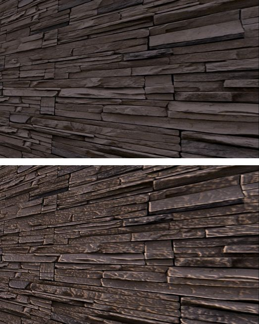 A simple demonstration: a wall using just a diffuse (texture) map (t) and the same all with a basic normal map applied (b)