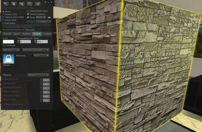 MATBUG-38. Apply a normal map to an object / object face with no specular map, and an arbitrary glossiness is applied (see the right face of the prim), which cannot be adjusted using the specular map options on the build floater (materials project viewer 3.5.1.274847)