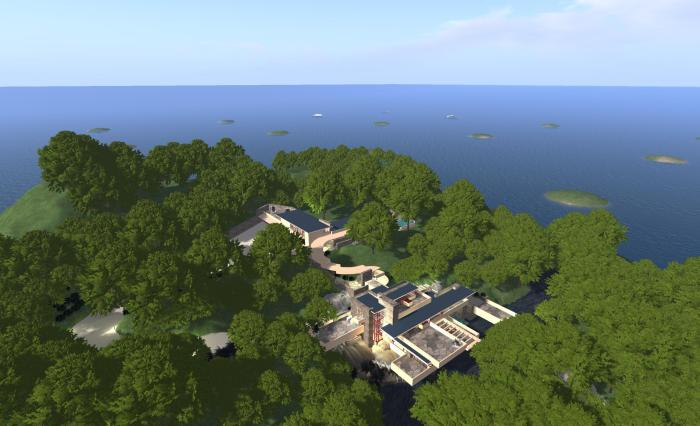 "My Fallingwater OAR file loaded into New World Studio on my PC as a part of a 16-region megaregion. The ""islands"" in the sea denote the other regions which make up the megaregion"