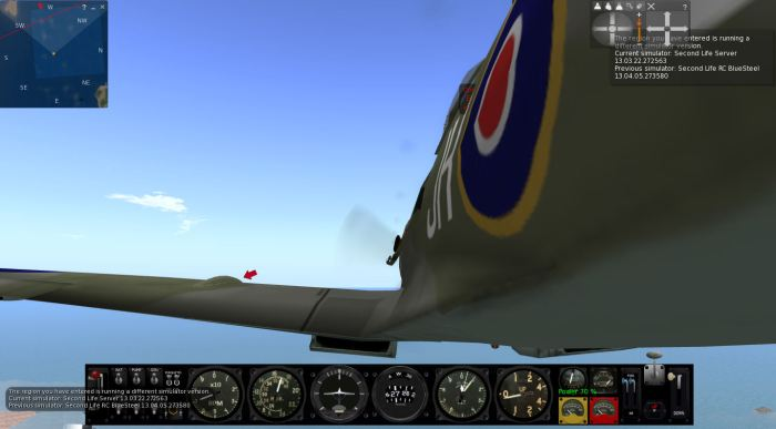 Flight testing region crossings: when moving between regions running on different simulator versions, I invariably encountered greater issues (such as the camera being shunt, as shown above) than when crossing between regions on the same simulator (note the chat console reports, lower left and notifications. top right).