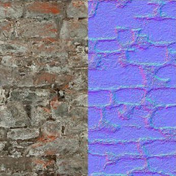 Left: A diffuse map (texture); right: a normal map created directly from the texture