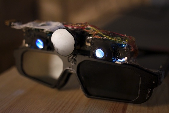 The initial CastAR prototype glasses shown at the 2013 Maker Faire