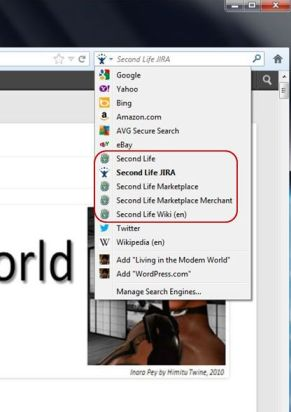 The SL-related search options as they appear when added to Firefox