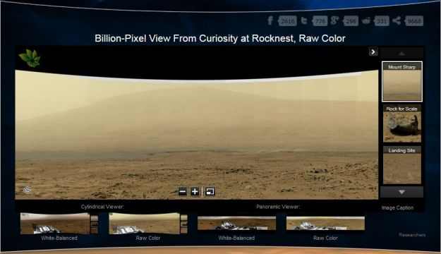 """A part of the raw image version of the """"billion pixel"""" """"Rocknest"""" moasaic, with """"Mount Sharp"""" on the horizon"""