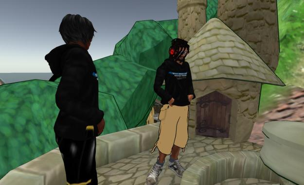 Contemplating Second Life on lki Eliot's sculpture at SL10B