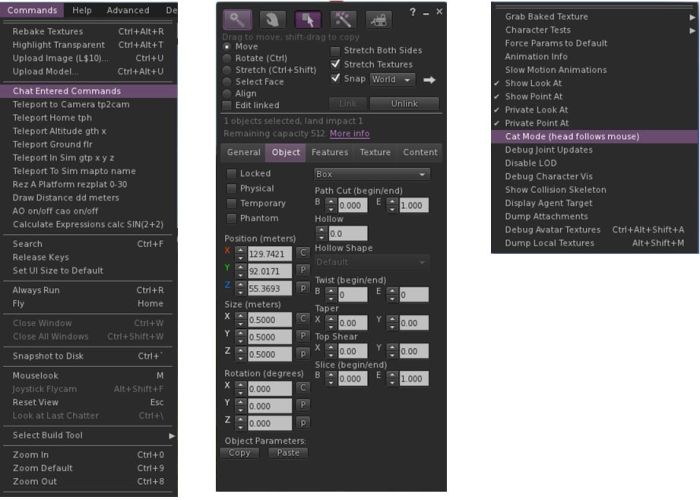 Kokua 3.6.0: the Commands menu (l); the updated Build floater Objects tab with improved copy / paste (c); the new Avatar sub-menu options for Private Look At / Point At and Cat Mode (r)