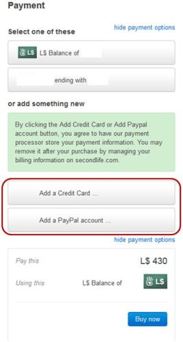 The expanded payment section showing all recorded payment methods and button to add further methods to your account