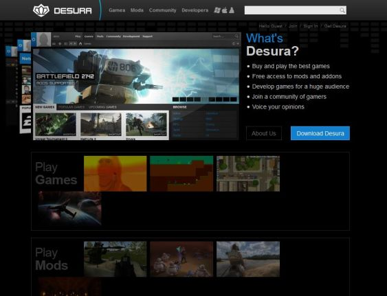 The Desura website