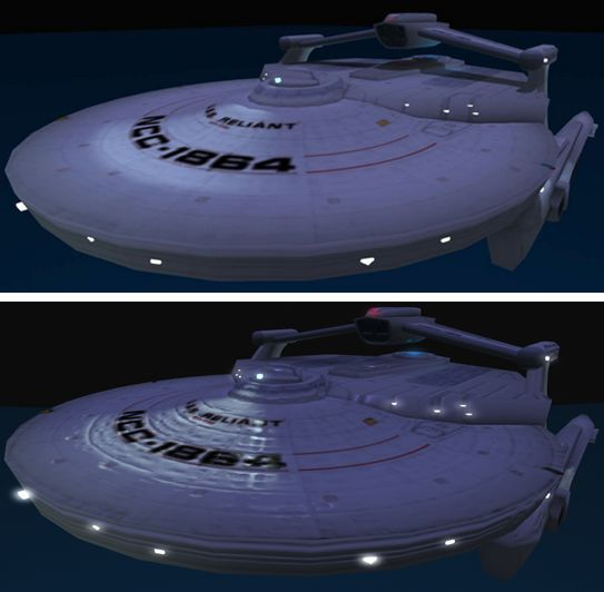 USS Reliant: (t) on an viewer without materials support but with ALM enabled; (b) on a viewer with materials support
