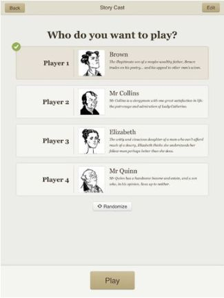 Versu character screen (click to enlarge): you chose the characte you wish to play, the rest will react to you based on a range of social rules, their own goals, and your actions in the story (image courtesy of Linden Research / Apple Computers)