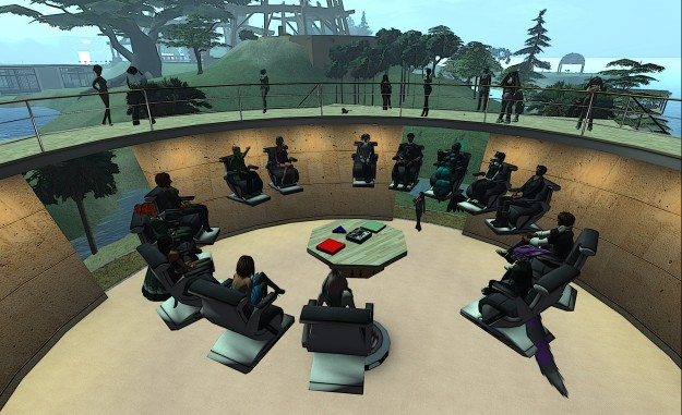 As well as chairing user-facing in-world meeting, such as the Third-Party Viewer Developer meeting (above) Oz Linden attends over 10 Lab staff meetings in-world a week