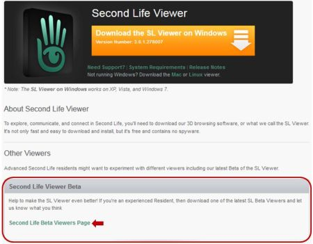 The Beta Viewer section of the viewer download page now takes you to the Official Alternate Viewer wiki page