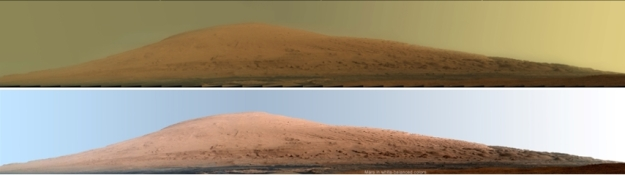 """Destination Aeolis Mons: Two versions of a """"deep zoom"""" shot of the mount captured on Sol 45 (Sept 20th, 2012). The upper image is as the scene appears under normal Martian daylight conditions, the lower has been """"white balanced"""" to show the scene under normal Earth daylight conditions"""