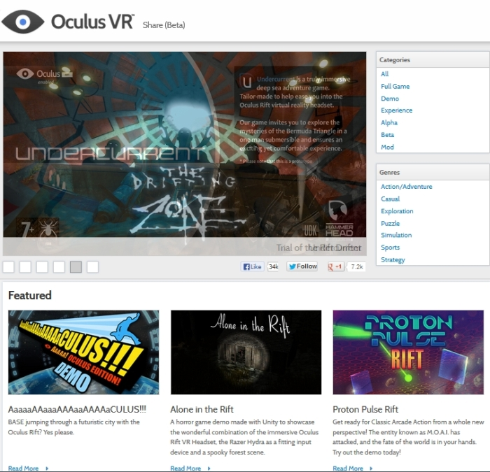Oculus Share beta (Image courtesy of Oculus Rift)