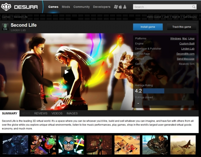 Second Life on Desura
