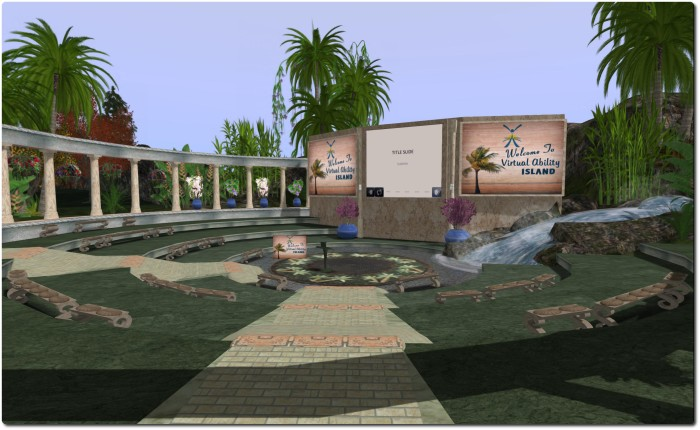 The open-air Sojourner Auditorium, Virtual Ability Island, location for the 2014 ISRAC conference, to be hosted by Virtual Ability Inc