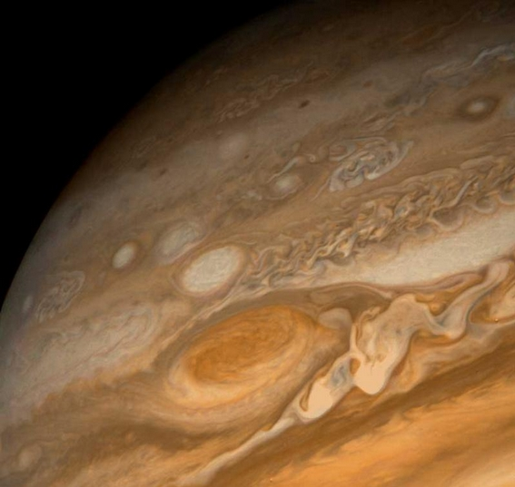 Jupiter's Great Red Spot, 3 times the size of Earth, imaged by Voyager 2 in 1980. Credit: NASA