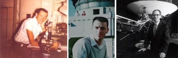 The men behind Voyager: Michael Minovitch (l), circa 1960; Gary Flandro (c), circa 1964; and Ed Stone (r), the project scientist and long-time advocate of the mission, circa 1972 (Stone later when on to serve as NASA's Director at JPL)