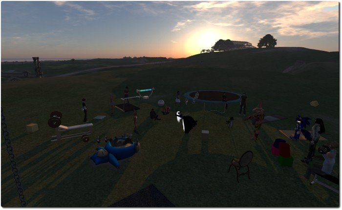 As the sun sets, the Server Beta attendees gather ...